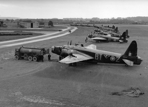 Wellington bombers being refuelled at Hixon Airfield during World War 2. Photo courtesy of Imperial War Museum.