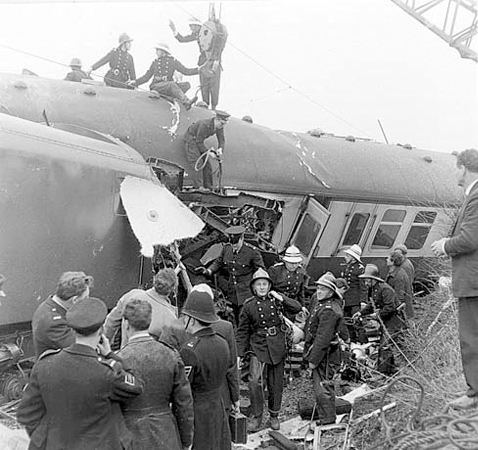 Firemen on the roof of a train carriage during the Hixon Rail Disaster in January 1968. Photo courtesy of Hixon Local History Society